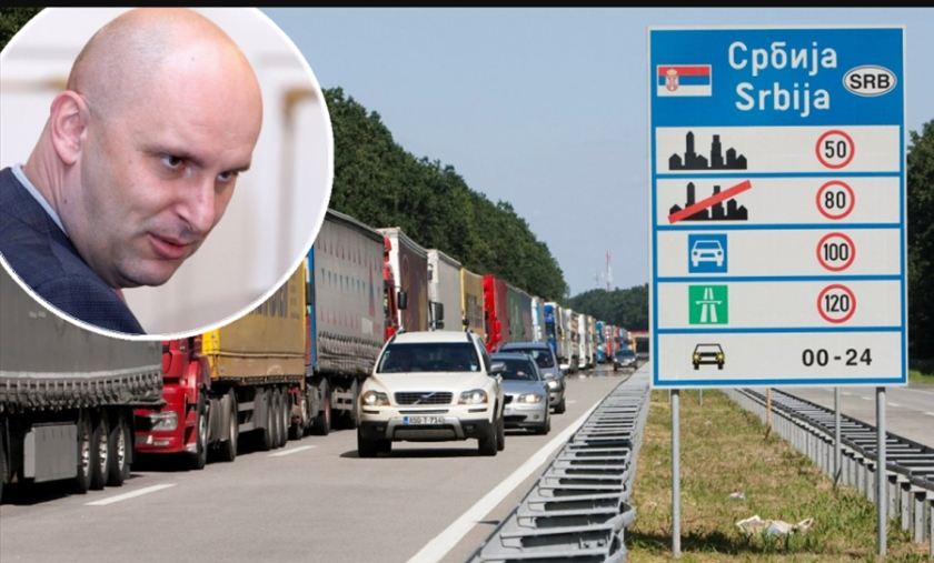 Tolušič in kamioni na meji s Srbijo