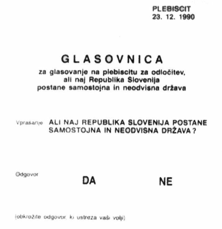 Glasovnica plebiscit 23121990 ali naj R Slovenija postane samostojna država