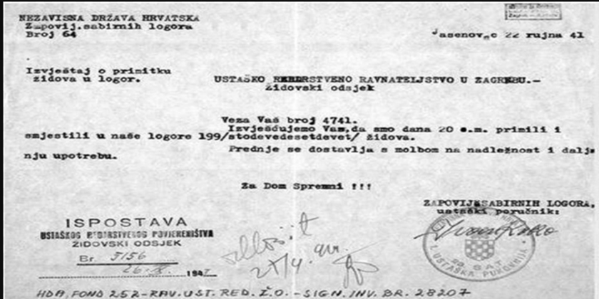 dokumet o sprejemo judov v taborišče Jesenovac
