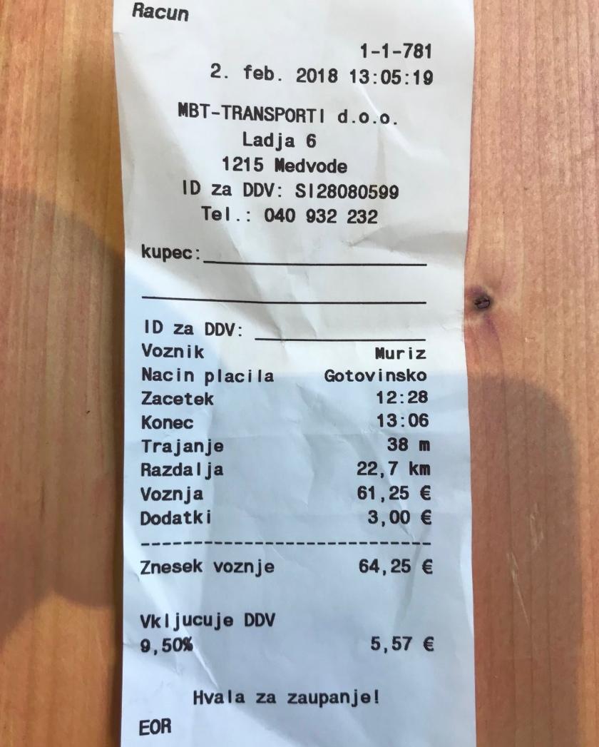 račun taksista iz Medvod za relacijo Brnik Ljubljana