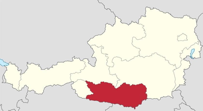 Avstrja _avstrijska Korošla kot del v zemeljevidu