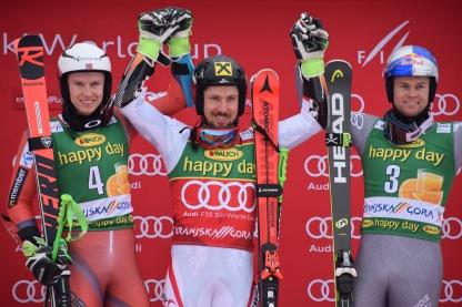 Lanski zmagovalci veleslaloma: 1. Marcel HIRSCHER (Avt), 2. Henrik KRISTOFFERSEN (Nor), 3. Alexis PINTURAULT (Fra)…5. Žan KRANJEC (Slo)