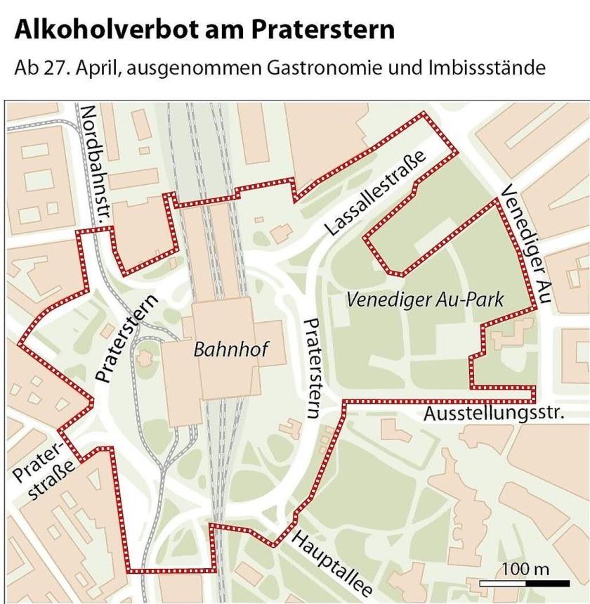Območje prepovedi javnega pitja imenovan Praterstern