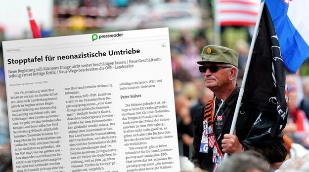 Zapis Kleine Zeitung o ustaškem shodu v Avstriji