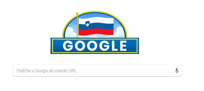 Google s slovensko zastavo ob dnevu državnosti Slovenije 25. 06.2018