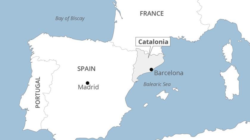 zemljevid Katalonija s Španijo