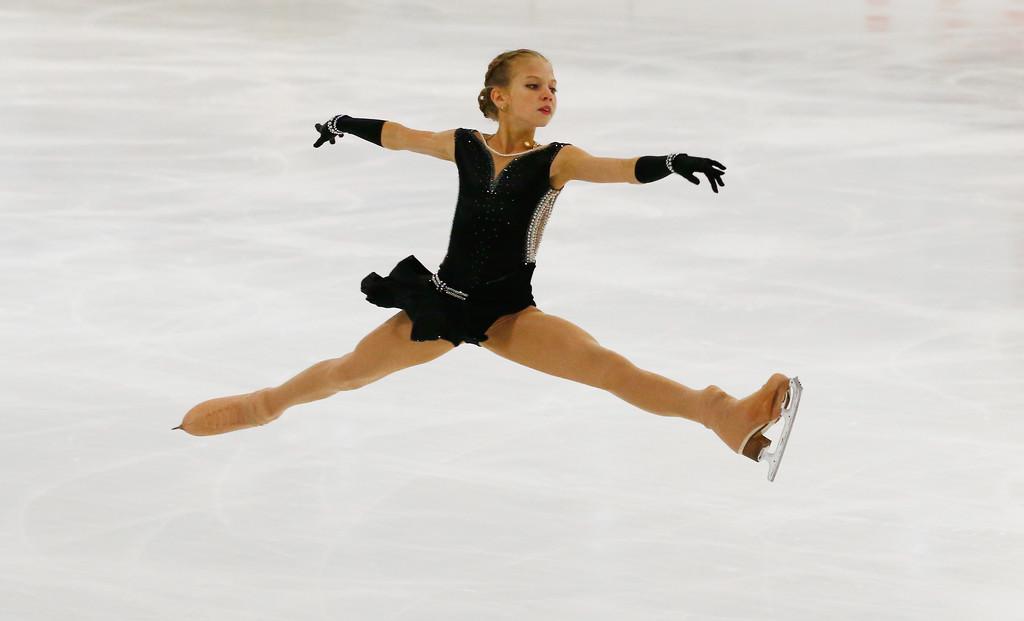 Rusinja Alexandra Trusova, aktualna svetovna mladinska prvakinja in svetovna rekorderka po številu zbranih točk v kratkem programu.