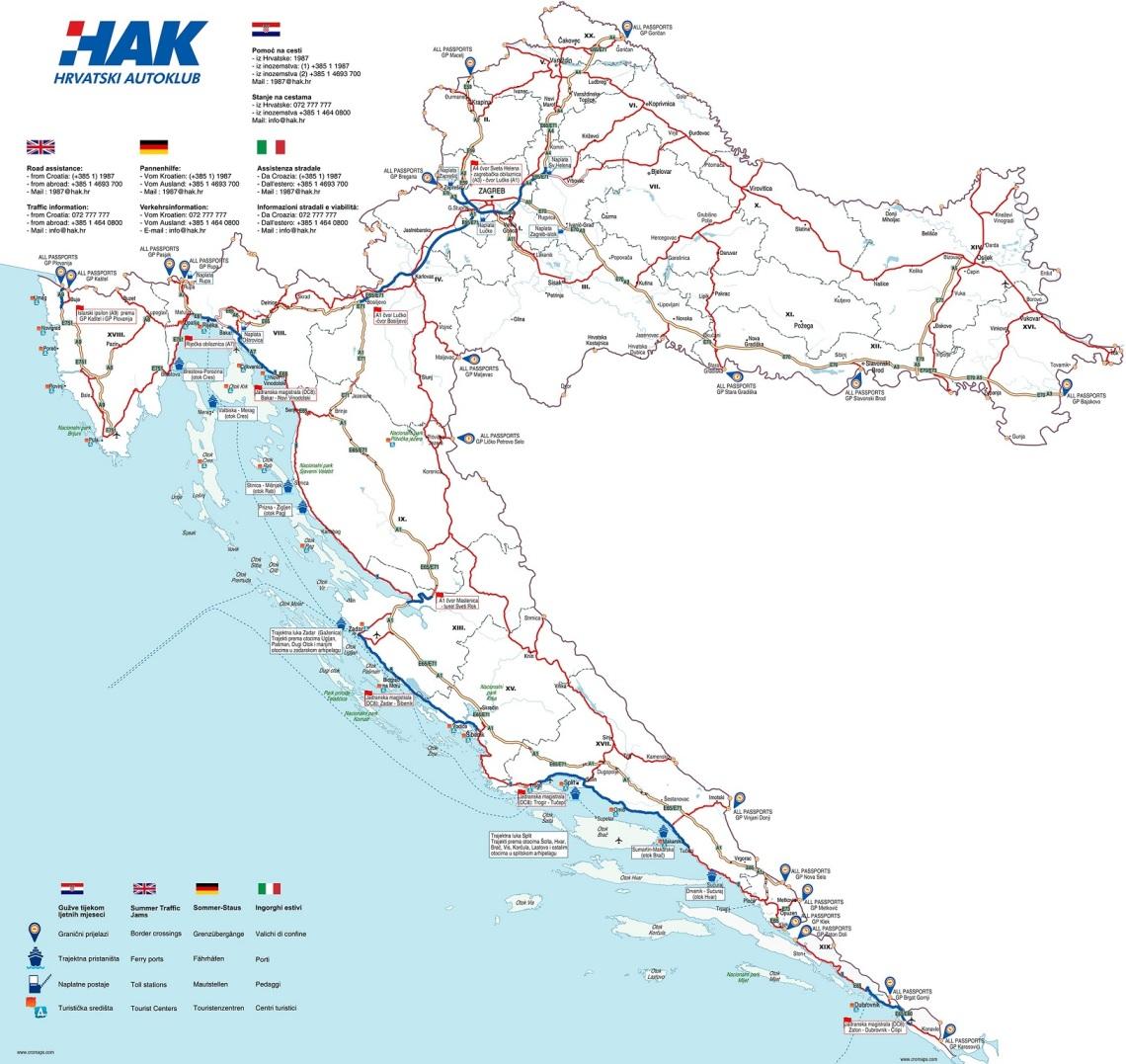 Zemljevid AC na Hrvaškem kjer Slovenije še kot države omenjajo ne/Vir: HAK