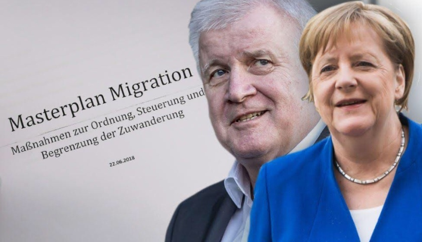 Knclerka Angela Merkel in Horst Seehofer