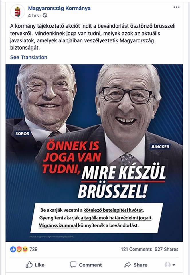 Soros in Juncker na plakatu Orbanove plakatne akcije povezane z migrantsko krizo ob začetku Evropskih volitev
