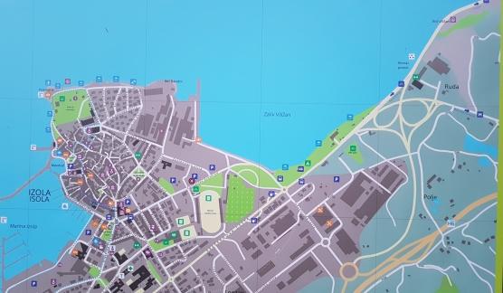 Pogled - grafično - na območje kampa Jadranka Izola tik ob obali