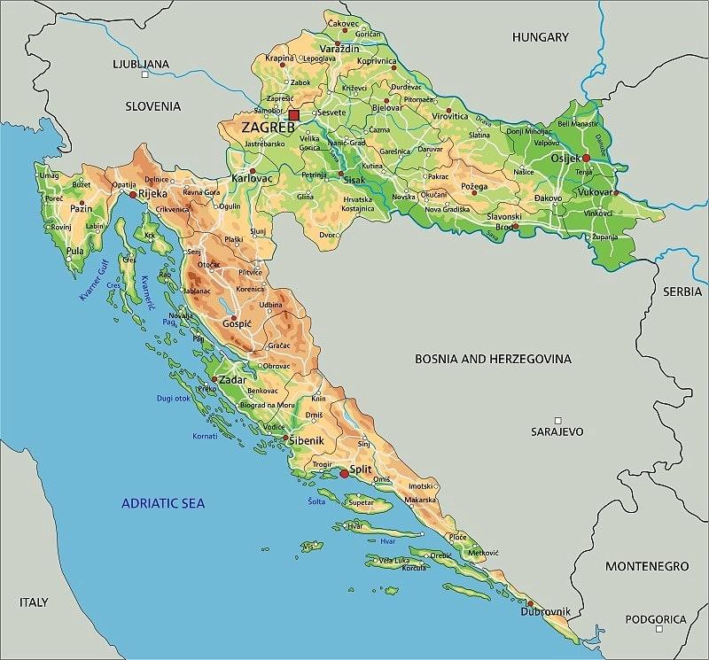 zemljevid Hrvaške